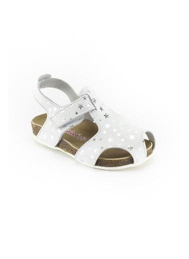 minipicco Minipicco Unısex Yıldızlı Gümüş Deri Ortopedik Destekli Çocuk Sandalet Gümüş